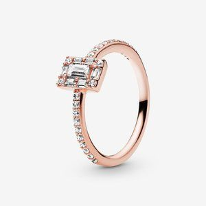Pandora Sparkling Square Halo Ring